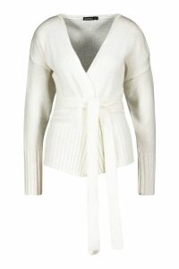 Womens Wrap Detail Cardigan - white - M, White