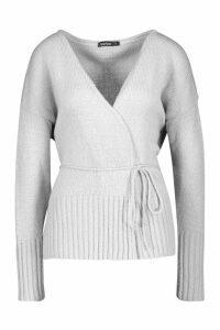 Womens Wrap Detail Peplum Cardigan - Grey - L, Grey