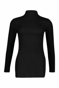 Womens Side Split Rib Tunic Top - black - 6, Black