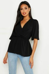 Womens Angel Sleeve Peplum Blouse - Black - 14, Black