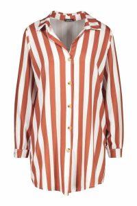 Womens Woven Longline Shirt - brown - 10, Brown