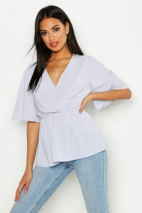 Womens Angel Sleeve Peplum Blouse - Blue - 6, Blue