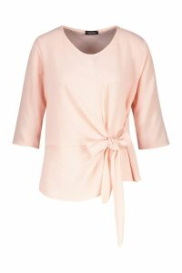 Womens Woven Tie Side Blouse - pink - 10, Pink