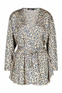 Womens Woven Leopard Wrap Tie Waist Blouse - beige - 8, Beige