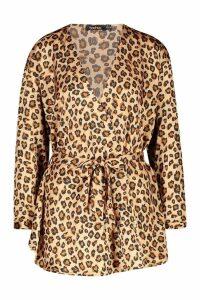 Womens Woven Leopard Wrap Tie Waist Blouse - beige - 10, Beige