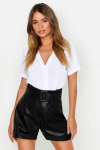 Womens Short Sleeve Button Through Blouse - white - 14, White