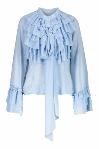Womens Ruffle Detail Long Sleeve Blouse - cornflower blue - L, Cornflower Blue