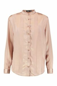 Womens Satin Stripe Collarless Shirt - beige - 12, Beige