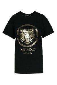 Womens Plus Tiger Foil Print T-Shirt - black - 20, Black