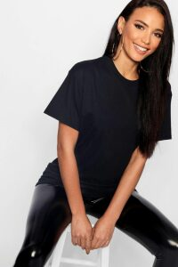 Womens Basic Oversized Boyfriend T-Shirt - Black - M, Black