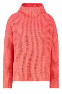 Womens Chenille Knit Funnel Neck Jumper - orange - S/M, Orange