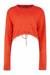 Womens Ruched Hem Soft Knit Jumper - orange - L, Orange