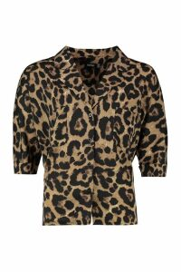 Womens Leopard Revere Collar Shirt - multi - 10, Multi
