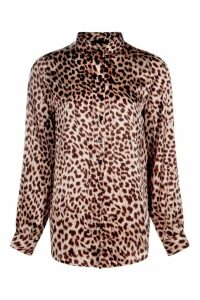Womens Silky Leopard Print Shirt - Brown - 12, Brown