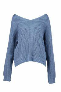Womens Crop Twist Jumper - blue - S/M, Blue