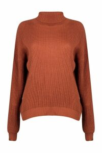 Womens Fisherman Roll Neck Jumper - brown - S/M, Brown