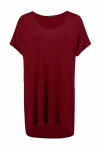 Womens Basic Oversized T-Shirt - Red - 6, Red