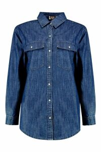 Womens Oversize Denim Shirt - blue - 14, Blue