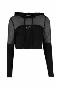 Womens Fit 'Man' Mesh Panel Hoodie - black - 14, Black