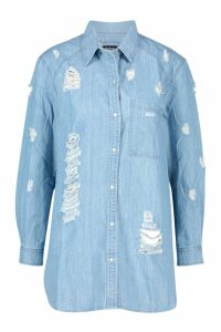 Womens Oversized Ultra Distressed Denim Shirt - blue - 12, Blue