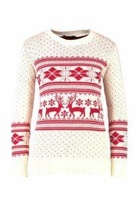 Womens Reindeer Fairisle Christmas Jumper - white - M/L, White