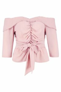 Womens Ruched Off The Shoulder Tie Detail Top - Pink - 12, Pink