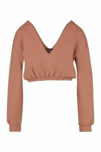Womens V Neck Crop jumper - beige - L, Beige