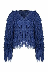 Womens Cropped Shaggy Knit Cardigan - blue - S, Blue