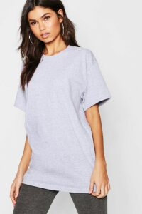 Womens Basic Oversized Boyfriend T-Shirt - Grey - S, Grey
