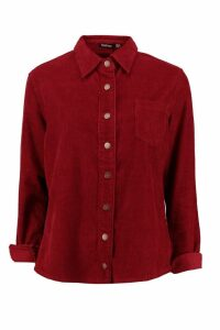Womens Oversized Cord Shirt - red - 14, Red