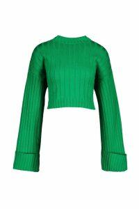 Womens Maxi Sleeve Wide Rib Jumper - green - M/L, Green