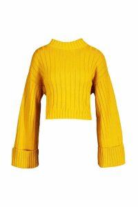 Womens Maxi Sleeve Wide Rib Jumper - yellow - S/M, Yellow