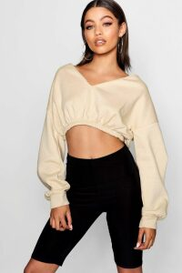 Womens V Neck Crop Jumper - Beige - Xl, Beige