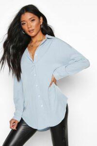 Womens Oversized Soft Touch Denim Shirt - Blue - 10, Blue