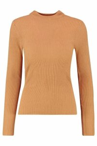 Womens Ribbed roll/polo neck Jumper - beige - XS, Beige