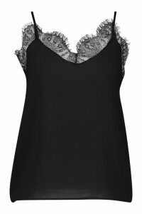 Womens Lace Trim Strappy Cami Top - black - 10, Black