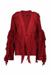 Womens Tassel Fringe Knit Oversized Cardigan - red - S/M, Red