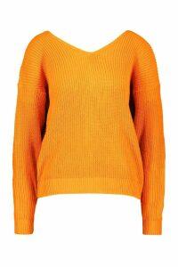 Womens Crop Twist Jumper - Orange - S/M, Orange