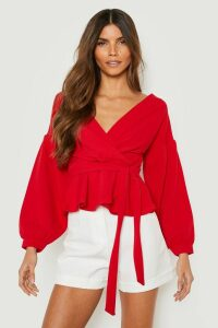 Womens Bell Sleeve Wrap Over Top - Red - 8, Red