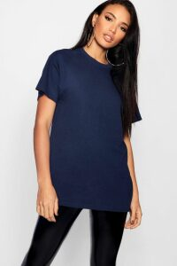 Womens Basic Oversized Boyfriend T-Shirt - Navy - S, Navy