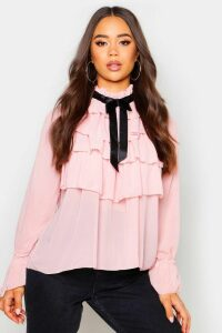 Womens Ruffle Front Full Sleeve Blouse - Pink - 10, Pink