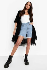 Womens Tassel Hem Cape Cardigan - Black - One Size, Black