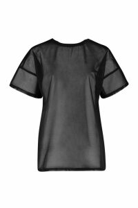 Womens Fit Oversized Mesh Workout Tee - black - 8, Black