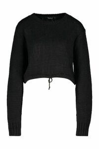 Womens Ruched Hem Soft Knit Jumper - black - L, Black