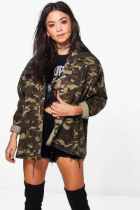 Womens Over Sized Camo Washed Denim Shirt - multi - S/M, Multi