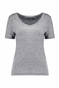 Womens Basic Super Soft V Neck T-Shirt - grey - 16, Grey