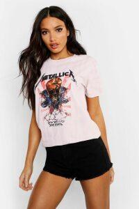 Womens Metallica Washed Slogan T-Shirt - Pink - L, Pink