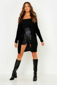 Womens Oversized Boyfriend Cardigan - Black - S/M, Black