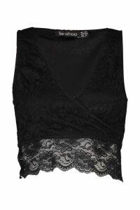 Womens Lace Wrap Front Crop Top - black - 6, Black