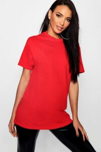 Womens Basic Oversized Boyfriend T-Shirt - Red - L, Red